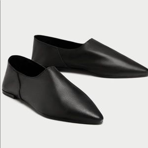 Zara Flat Leather Pointed Toe Foldable Heel Flats